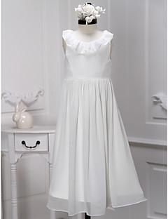 A-line Tea-length Flower Girl Dress - Chiffon Sleeveless
