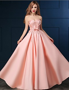 Formal Evening Dress A-line Sweetheart Floor-length Satin with Appliques / Beading
