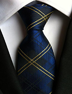 Men Wedding Cocktail Necktie At Work Blue Yellow Tie