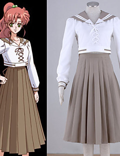 Inspired by Sailor Moon Sailor Jupiter Anime Cosplay Costumes Cosplay Suits Patchwork White Top / Skirt