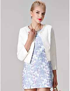 Sheath/Column Mother of the Bride Dress - White / Multi-color / Print Short/Mini 3/4 Length Sleeve Polyester