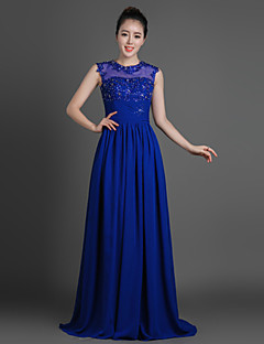 Sheath/Column Mother of the Bride Dress - Royal Blue Floor-length Chiffon / Lace / Tulle