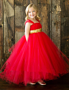 Ball Gown Ankle-length Flower Girl Dress - Tulle Polyester Spaghetti Straps with Bow(s) Sash / Ribbon