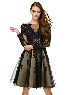 TS Couture Cocktail Party Dress - Black A-line Bateau Knee-length Tulle