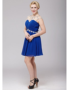 Cocktail Party Dress - Royal Blue A-line Scoop Short/Mini Chiffon