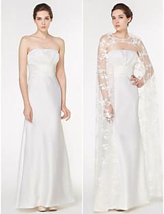 Lan Ting - Trumpet/Mermaid Wedding Dress - Ivory Watteau Train Strapless Lace / Charmeuse