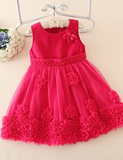 A-line Knee-length Flower Girl Dress - Tulle / Woolen cloth Sleeveless