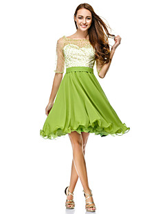 TS Couture Cocktail Party Dress - Clover A-line Scoop Knee-length Chiffon / Tulle
