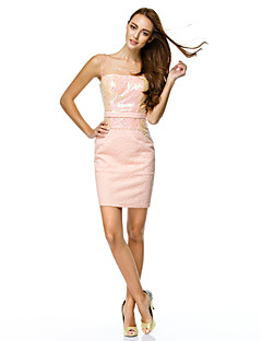 TS Couture® Cocktail Party Dress - Pearl Pink Sheath/Column Scoop Short/Mini Tulle / Polyester