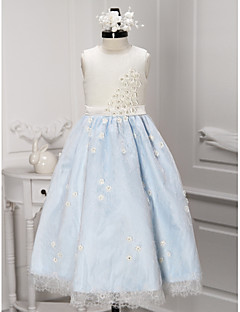 A-line Ankle-length Flower Girl Dress - Lace Sleeveless Jewel with Flower(s) / Lace