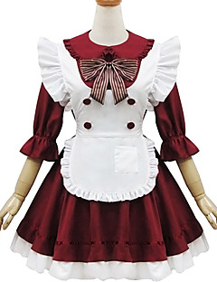 Black and Red Polyester Maid Costume