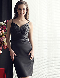Knee-length Satin Bridesmaid Dress Sheath / Column V-neck with Pleats