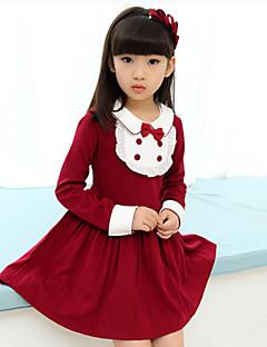 女の子の ゼブラプリント コットン混,ドレス 冬 / 秋 ブルー / ピンク / レッド