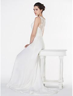 LAN 팅 - 라인 웨딩 드레스 - 아이보리 법원 기차 V 넥 쉬폰