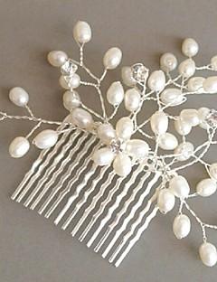 נשים נערת פרחים פלדת אל חלד דמוי פנינה זירקונה מעוקבת כיסוי ראש-חתונה אירוע מיוחד מסרקי שיער חלק 1