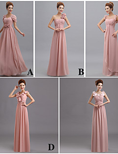 Floor-length Chiffon Bridesmaid Dress Sheath / Column V-neck with Flower(s) / Side Draping / Bandage