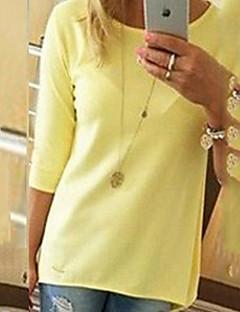 Γυναικεία T-shirt Σουρωτά Στρογγυλή Λαιμόκοψη ¾ Μανίκι Βαμβάκι