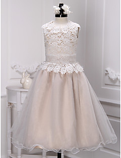 Lanting Bride ® A-line Ankle-length Flower Girl Dress - Lace / Organza Sleeveless Jewel with Lace