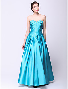 Formal Evening Dress A-line Sweetheart Floor-length Satin with Side Draping