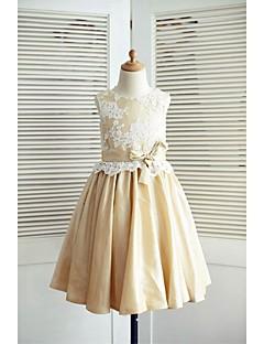Φόρεμα για Κοριτσάκι Λουλουδιών Γραμμή Α Μέχρι το Γόνατο - Δαντέλα / Ταφετάς Αμάνικο