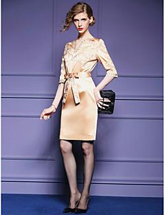 Sheath/Column Mother of the Bride Dress - Fuchsia / Ivory Knee-length Half Sleeve Polyester