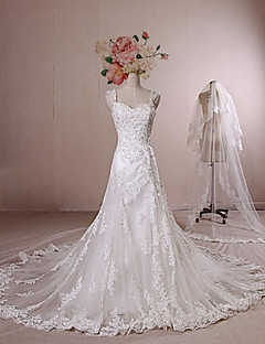A-line Wedding Dress - Ivory Chapel Train Straps Lace / Satin / Tulle