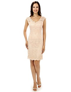 Prom Cocktail Party Dress Sheath / Column V-neck Knee-length Lace with Lace