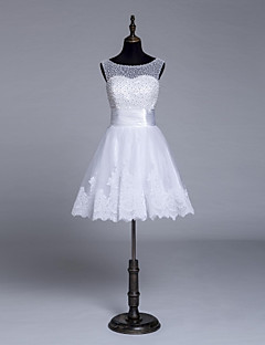 A-line Wedding Dress Knee-length Jewel Tulle with Beading / Lace