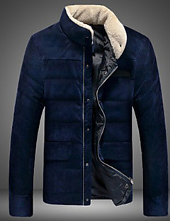 Wans Men's Stand Coats & Jackets , Cotton Blend Long Sleeve Casual Button Winter