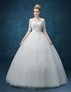 A-line Wedding Dress - White Knee-length Bateau Organza
