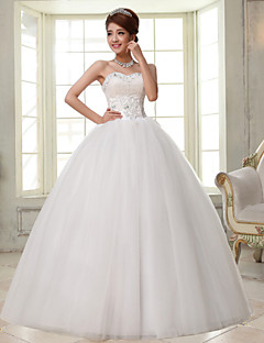Ball Gown Wedding Dress Floor-length Sweetheart Lace / Satin / Tulle with Beading