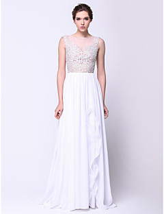 TS Couture® Formal Evening Dress A-line Scoop Sweep / Brush Train Chiffon / Lace / Tulle with Appliques
