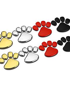 1pair Panda Bear Animal Footprint Zinc Alloy Chrome Metal Car Styling Emblem Badge Refitting 3D Sticker Decal