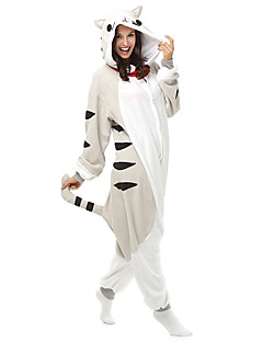 Kigurumi Pyjamas Kat Chi Sweet Home / Cheese Kat Trikot/Heldragtskostumer Festival/Højtider Nattøj Med Dyr Halloween Hvid Patchwork