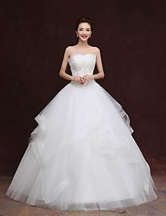 Vestido de Noiva - Marfim Princesa Sem Alças Comprido Tule