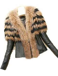 Feminino Jaquetas de Couro Casual Inverno, Sólido Estampa Animal Pêlo SintéticoManga Longa