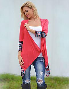 Женский На каждый день Осень Рубашка Асимметричный вырез,Простое С принтом Красный Длинный рукав,Нейлон,Плотная