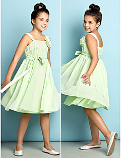 Junior-Brautjungferkleid - Salbei Chiffon - A-Linie - knielang - Träger