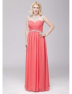Formeller Abend Kleid - Wassermelone Chiffon - A-Linie - bodenlang - U-Ausschnitt