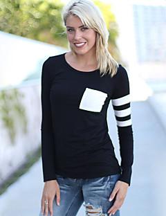 Tee-shirt Aux femmes Poche Manches Longues Col Arrondi Coton