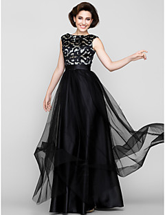 A-line Mother of the Bride Dress Floor-length Sleeveless Tulle with Pattern / Print