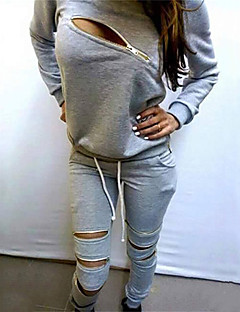 Women's Solid Black / Gray Hoodies , Sexy / Casual Round Neck Long Sleeve