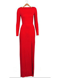 Women's Sexy / Maxi Solid Bodycon Dress , Round Neck Maxi Cotton