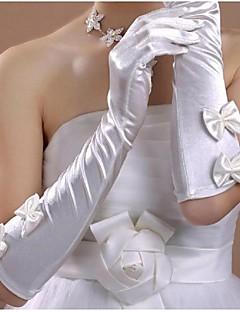 Könyökön felül Ujjbegy Kesztyű Szatén Menyasszonyi kesztyűk Tavasz Nyár Ősz Tél