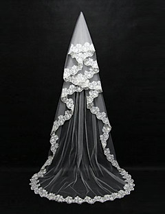 Wedding Veil One-tier Blusher Veils / Chapel Veils / Cathedral Veils Lace Applique Edge Tulle White / Ivory