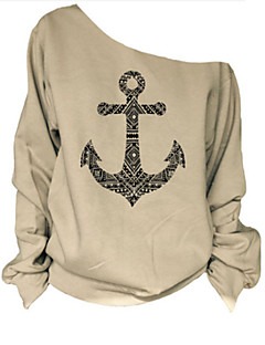 De las mujeres Camiseta - En Capas Escote Inclinado - Algodón - Manga Larga