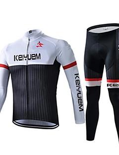 KEIYUEM® חולצה וטייץ לרכיבה יוניסקס שרוול ארוך אופנייםעמיד למים / נושם / ייבוש מהיר / עמיד / מבודד / מוגן מגשם / עמיד לאבק / דחיסה /