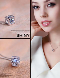 925 Fine Silver  AAA Zircon Pendant Necklace ,Tiny Necklace