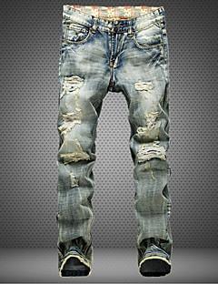 Menn Fritid / Plusstørrelse Ensfarget Jeans,Bomull Grå
