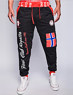 Bărbați Larg Pantaloni Chinos Pantaloni Șic Stradă Imprimeu / Scrisă Casul/Zilnic Talie Medie Cordon Bumbac / Polyester Micro-elastic